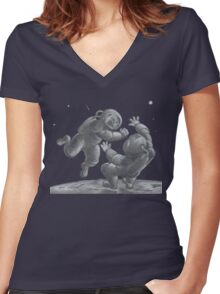 Astronaut Fistfight - Angry Space Men Fight On a Distant Moon or Planet, Far From Their Spaceship Women's Fitted V-Neck T-Shirt