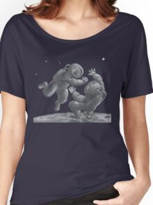 Astronaut Fistfight - Angry Space Men Fight On a Distant Moon or Planet, Far From Their Spaceship Women's Relaxed Fit T-Shirt