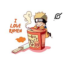 Naruto with Ramen Photographic Print