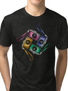 Multicolor vintage reflex cameras Tri-blend T-Shirt