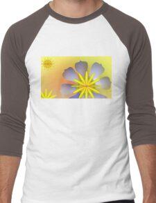 Purple, Yellow, and Sunny Orange exotic flowers Men's Baseball ¾ T-Shirt