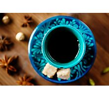 Hot Drink with Various Spices in Authentic Turkish Glasses  Photographic Print