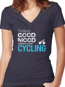 Today's Good Mood Is Brought to You by Cycling Women's Fitted V-Neck T-Shirt