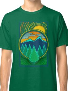 Vintage Summer Sunset By The Pines Mountain Adventure Classic T-Shirt