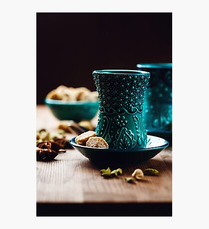 Authentic Drink with Various Spices in Traditional Turkish Glasses  Photographic Print