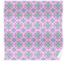 Lovely Lilac with Pink and Green Pattern Poster
