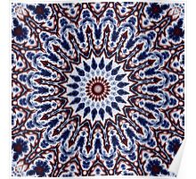 Mandala Fractal in Red White and Blue 03 Poster