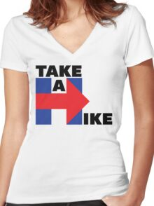 Take A Hike (Black) Women's Fitted V-Neck T-Shirt