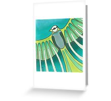 green feathered Greeting Card