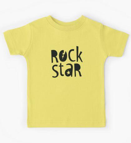 "MODERN POP TYPE bold black monochrome typography ""rockstar"""" Kids Tee"