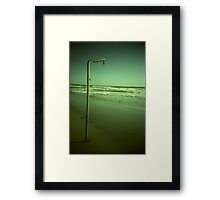 Beach shower in surreal green 35mm xpro cross processed lomographic film lomography analog photo Framed Print