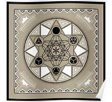 SACRED GEOMETRY - METATRONS CUBE - PLATONIC SOLIDS - FLOWER OF LIFE - SPIRITUALITY Poster
