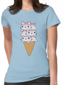 Cute Cat Ice Cream Cone  Womens Fitted T-Shirt