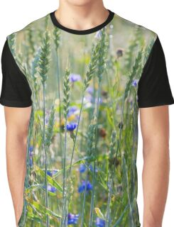 Cornflowers in a wheat field Graphic T-Shirt