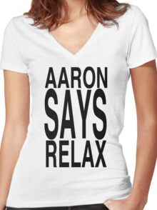 Aaron Says Relax Women's Fitted V-Neck T-Shirt