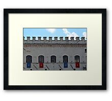 Ancient wall in Assisi with flags Framed Print