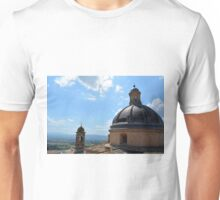 Assisi landscape seen from above near a roof with cupola Unisex T-Shirt