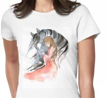 Girl and grey horse  Womens Fitted T-Shirt
