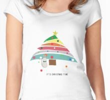 christmas time cat christmas tree decorating female t shirt gift  Women's Fitted Scoop T-Shirt