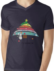 christmas time cat christmas tree decorating female t shirt gift  Mens V-Neck T-Shirt