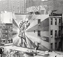"Mural of ""The Kiss"" from the High Line in New York City by dearmoon"