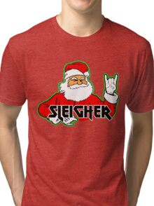 SLEIGHER METAL SANTA T-Shirt Hail Santa Funny Christmas Tri-blend T-Shirt