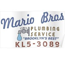 Mario Brothers Plumbing Service Poster