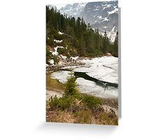 Tourists trek around Morskie Oko Lake Greeting Card