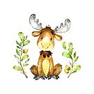 Moose on the Loose is one of the Forest Friends nursery art set by Sandra O'Connor