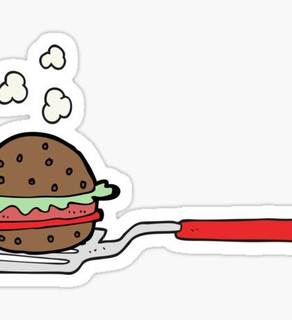 cartoon spatula with burger Sticker