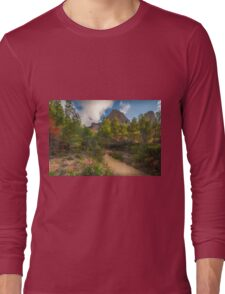 Pink flowers, trees and mountains Long Sleeve T-Shirt