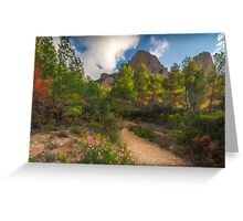 Pink flowers, trees and mountains Greeting Card