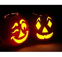Pumpkin Pair, One Winking Photographic Print