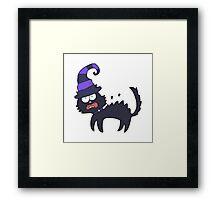 cartoon scared black cat Framed Print