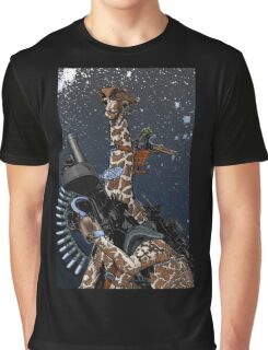 Giraffe Space Pirate Graphic T-Shirt