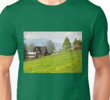 Bucolic spring meadow and wooden house Unisex T-Shirt