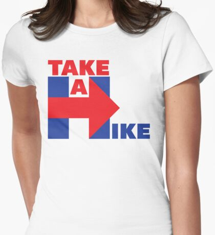 Take A Hike (Red/Blue) Womens Fitted T-Shirt