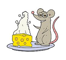 cartoon mouse with cheese Photographic Print