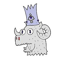 cartoon ram head with magical crown Photographic Print