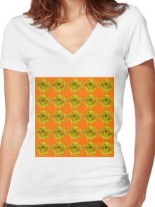 Yellow Flowers on Orange Background Women's Fitted V-Neck T-Shirt