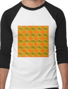 Yellow Flowers on Orange Background Men's Baseball ¾ T-Shirt