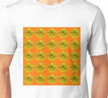 Yellow Flowers on Orange Background Unisex T-Shirt