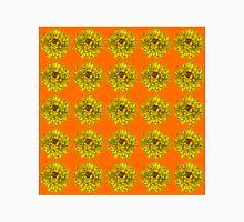 Yellow Flowers on Orange Background Unisex T-Shirt