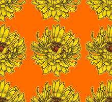 Yellow Flowers on Orange Background Sticker