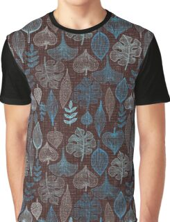 Blue leaves on chocolate background Graphic T-Shirt