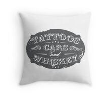 Voodoo Designs - Tattoos Cars & Whiskey Throw Pillow