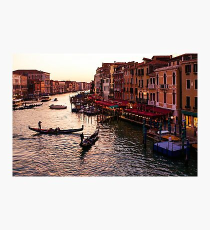 Impressions Of Venice - Warm Dusk and Gondolas on the Grand Canal  Photographic Print