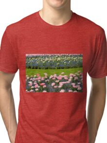 Pink Foxtrot tulips with blue flowers Tri-blend T-Shirt