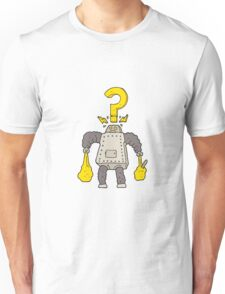cartoon confused robot carrying shopping Unisex T-Shirt