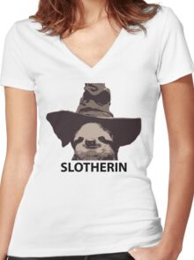 Slotherin (Slytherin) Women's Fitted V-Neck T-Shirt
